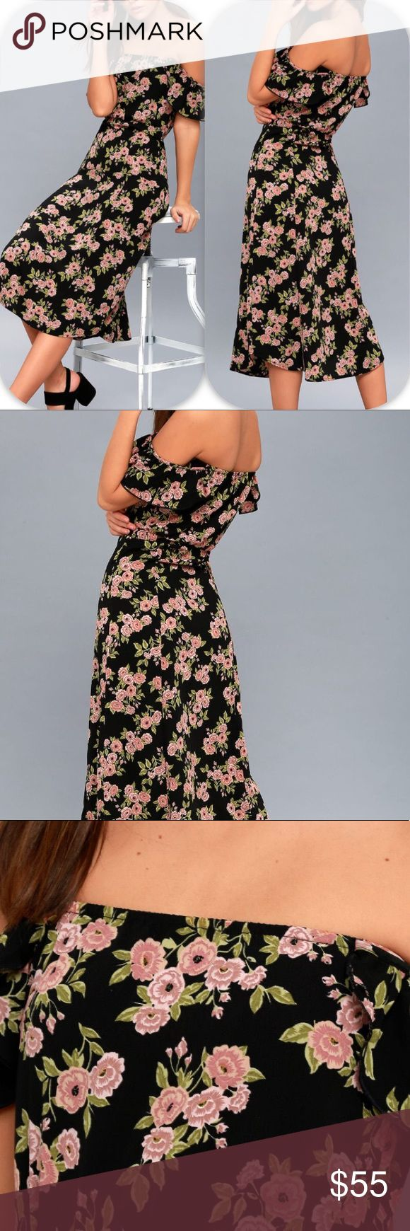 NWT XS FLORAL LULU'S OFF SHOULDER DRESS BLACK Brand: Lulu's sweeter than you floral print off the shoulder midi dress             Condition: New with tag || Size xs Extra Small   📌NO  TRADES  🛑NO LOWBALL OFFERS  ⛔️NO RUDE COMMENTS  🚷NO MODELING  ☀️Please don't discuss prices in the comment box. Make a reasonable offer and I'll either counter, accept or decline.   I will try to respond to all inquiries in a timely manner. Please check out the rest of my closet, I have various brands. Some…