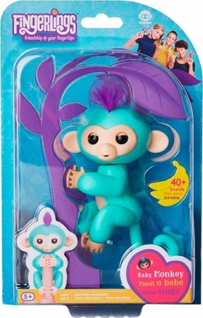 Fingerlings Interactive Baby Monkey Zoe Turquoise W/Purple Hair Wow Wee #WowWee