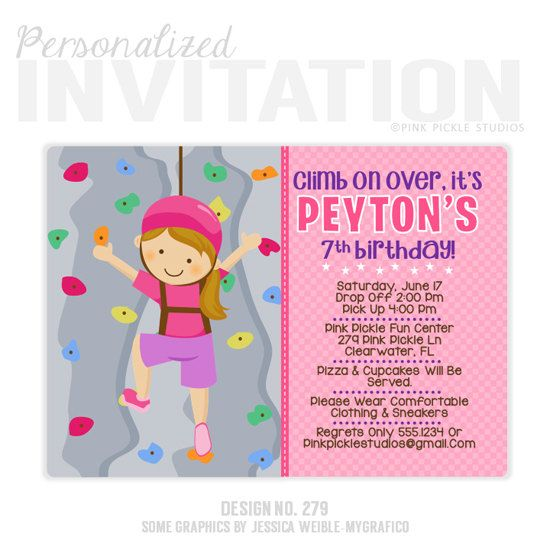 9 best rock climbing invitations images on Pinterest Birthdays