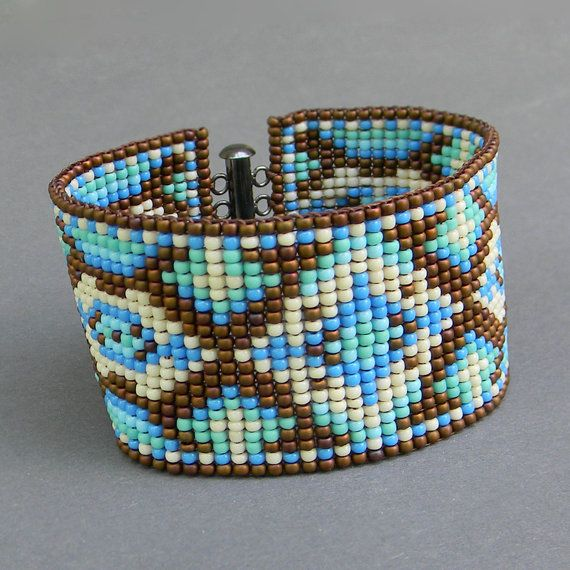 Colorful beaded  bracelet with original design - turquoise / blue / cream / brown