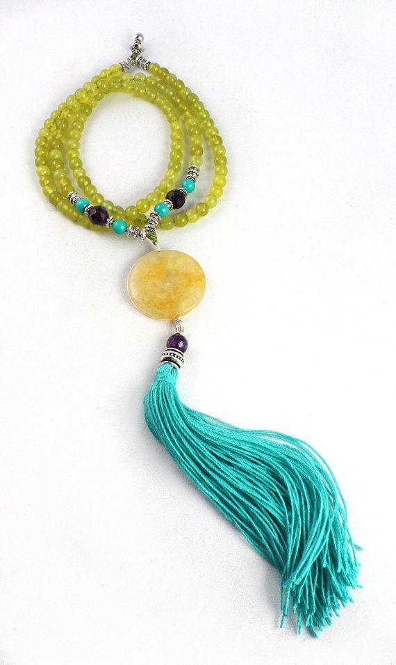 Summer Sun Mala Necklace Prayer Beads by goodmedicinegemstone
