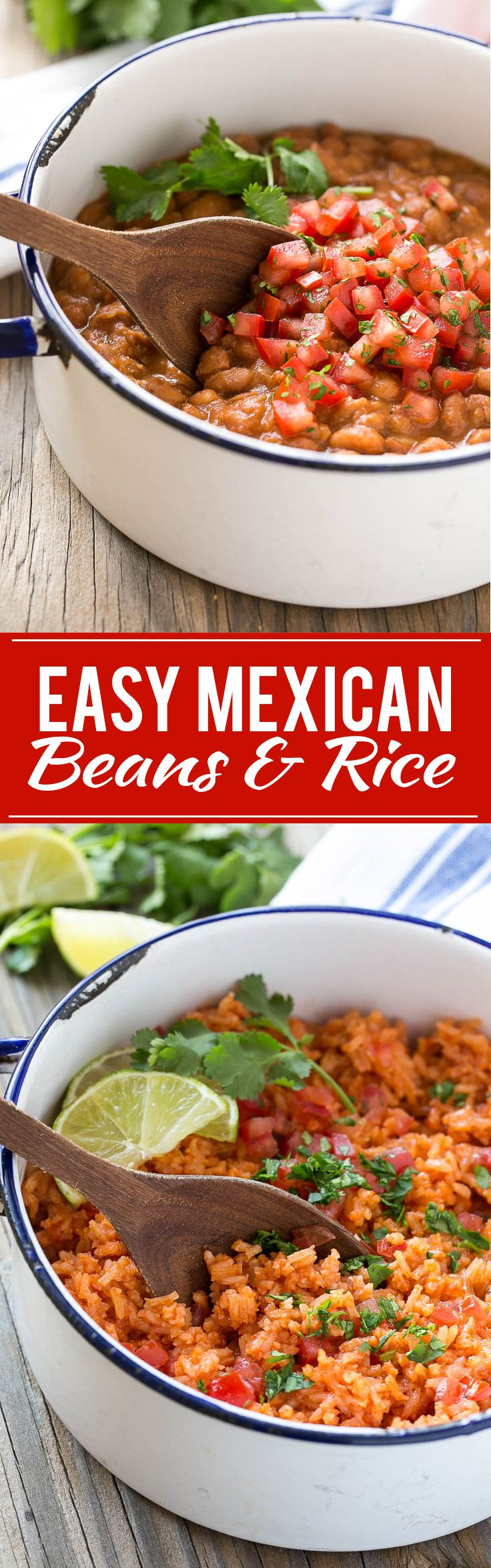 Easy Mexican Pinto Beans and Rice - The mexican rice has a secret ingredient that makes it taste like it came from a restaurant, and the pinto beans are ready in just 10 minutes.