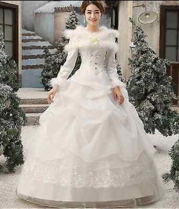 Women's Winter Long Sleeve Fur Collar Full Length Bubble Wedding Dress White Red