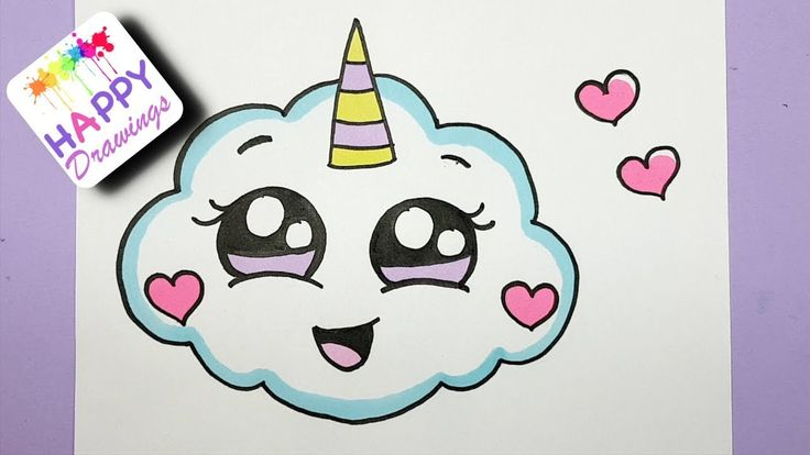 HOW TO DRAW A SUPER CUTE CLOUD EMOJI UNICORN - EASY DRAWING - YouTube