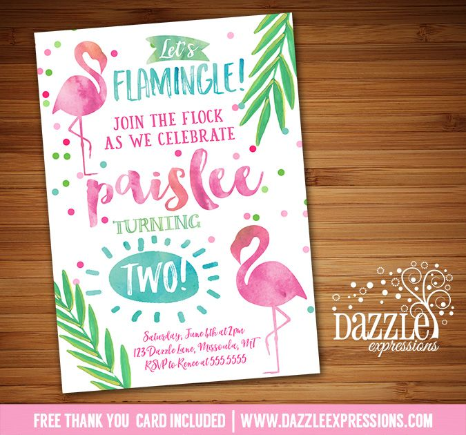 Printable Watercolor Flamingo Birthday Party Invitation   Baby Shower or Bridal Shower   Pool Party   Flamingle   Luau   Tropical   Hawaii    Confetti   Girls Summer Birthday Party   Digital File   Kids Birthday Party Idea or any event   Baby Shower   Bridal Shower   FREE thank you card   Party Package Available    Banner   Cupcake Toppers   Favor Tag   Food and Drink Labels   Signs    Candy Bar Wrapper   www.dazzleexpressions.com