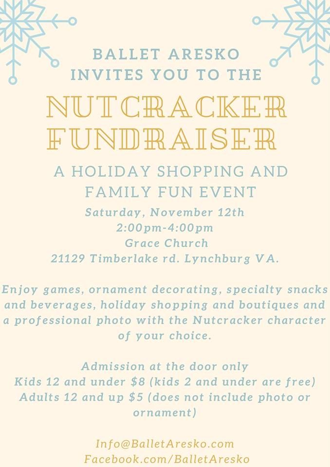 You and your family are invited to the Nutcracker Fundraiser for holiday shopping, games, ornament decorating, snacks, a photo booth, and more! It's happening Saturday, November 12th from 2-4 pm at 21129 Timberlake Road in Lynchburg.
