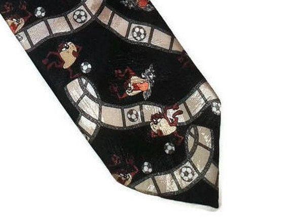 Vintage Tasmanian Devil black tie Looney tunes necktie Warner