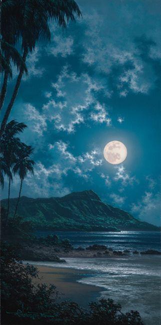Waikiki Moonscape. Beautiful Blue