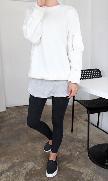 Simple and Chic Everyday Outfit | Black Legging | Slip On Sneakers | Large White Sweater | Winter Layered Look | Fall Street Style