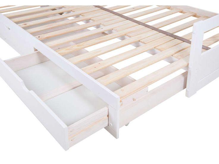 Lit banquette gigogne 2x90x190 cm + 2 tiroirs MELODY coloris blanc - Vente de Lit enfant - Conforama
