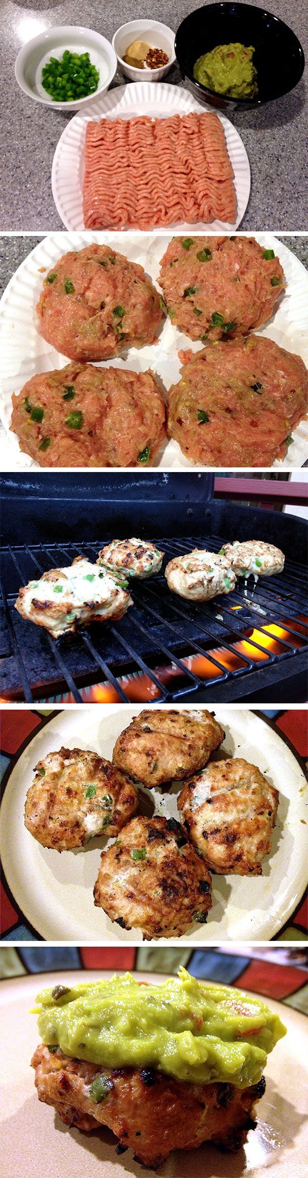 "Spicy Chicken Burgers: 1# gd chicken,  1/2-1 jalapeno, 1/2 tsp garlic pwd, 1/2 tsp gd cumin, 1/2 tsp red pepper flakes (or less!!); grill ~10"" med-high heat; top w/ guacamole"