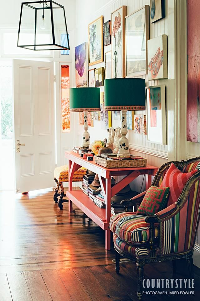 Country Style Magazine. Interior designer Anna Spiro's amazing talent for mixing colour and pattern is obvious in every corner of her Queensland home. Photography Jared Fowler Styling Anna Spiro ‪#‎countrystylemag‬