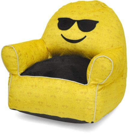 Emoji Pals Soft Faux Fur Kids Sofa Bean Bag Chair, Multiple Patterns
