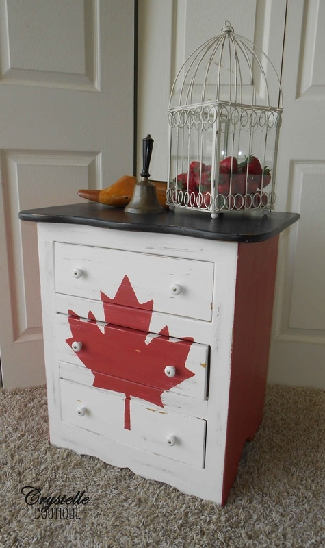 Canadian Flag Dresser  Red, white and black top paint  Crystelle Boutique