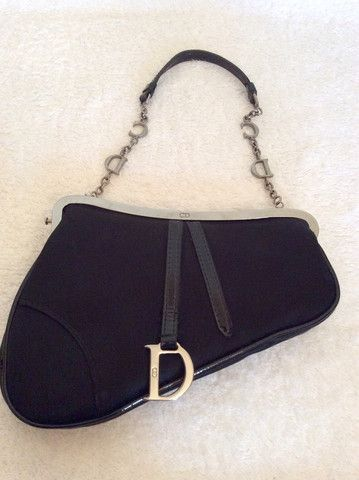 CHRISTIAN DIOR BLACK SATIN SMALL EVENING BAG - Whispers Dress Agency - Evening Bags - £100