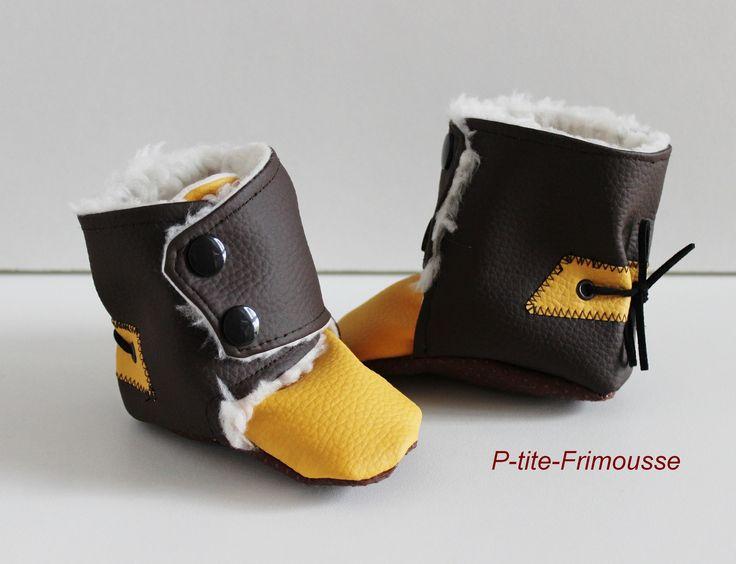 Chaussons bottines bébé, simili cuir et doublure fourrure imitation mouton. Imperméables ! : Mode Bébé par p-tite-frimousse