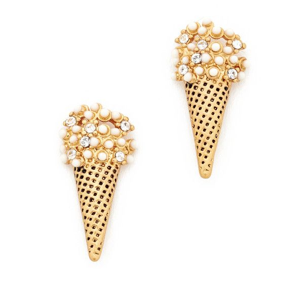 Marc Jacobs Ice Cream Stud Earrings ($56) ❤ liked on Polyvore featuring jewelry, earrings, antique gold, marc jacobs jewellery, antique gold jewelry, cream jewelry, marc jacobs jewelry and marc jacobs earrings