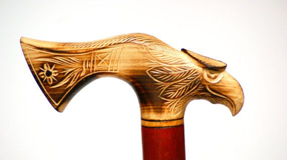 Hand carved unique walking stick wooden fine by PoshCraftPoland