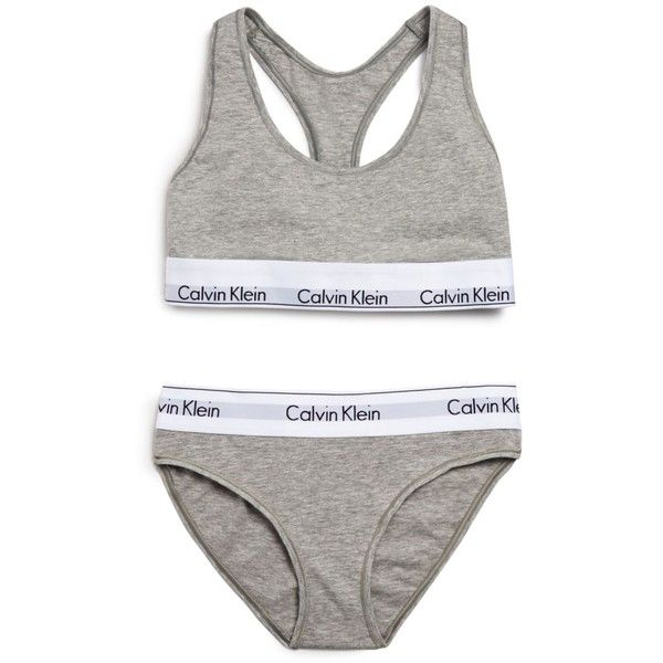 Calvin Klein Underwear Modern Cotton Bralette and Bikini Gift Set... ($46) ❤ liked on Polyvore featuring intimates, underwear, lingerie, undies, bras, gray heather, calvin klein underwear, wet look lingerie and cotton lingerie