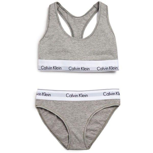 Calvin Klein Underwear Modern Cotton Bralette and Bikini Gift Set... (£31) ❤ liked on Polyvore featuring intimates, underwear, tops, undies, gray heather and calvin klein underwear