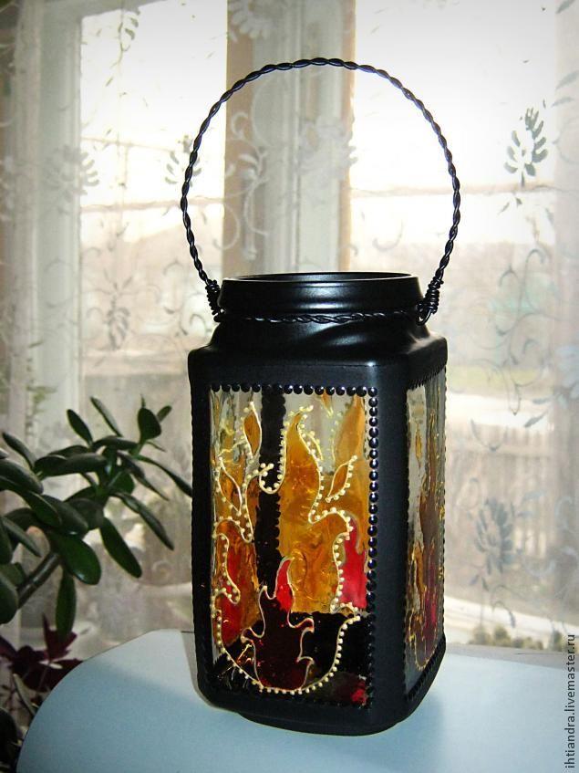 DIY Превращаем стеклянную банку из-под кофе в красивый фонарь с помощью декора и росписи