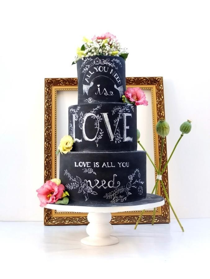 When it comes to #weddings there are two things that pop up almost everywhere, #cakes and #chalkboard #signs ! So why not merge them? Eat some #cake everybody! Then see more lovelies this way → https://instagram.com/ivorywhiteboutique/
