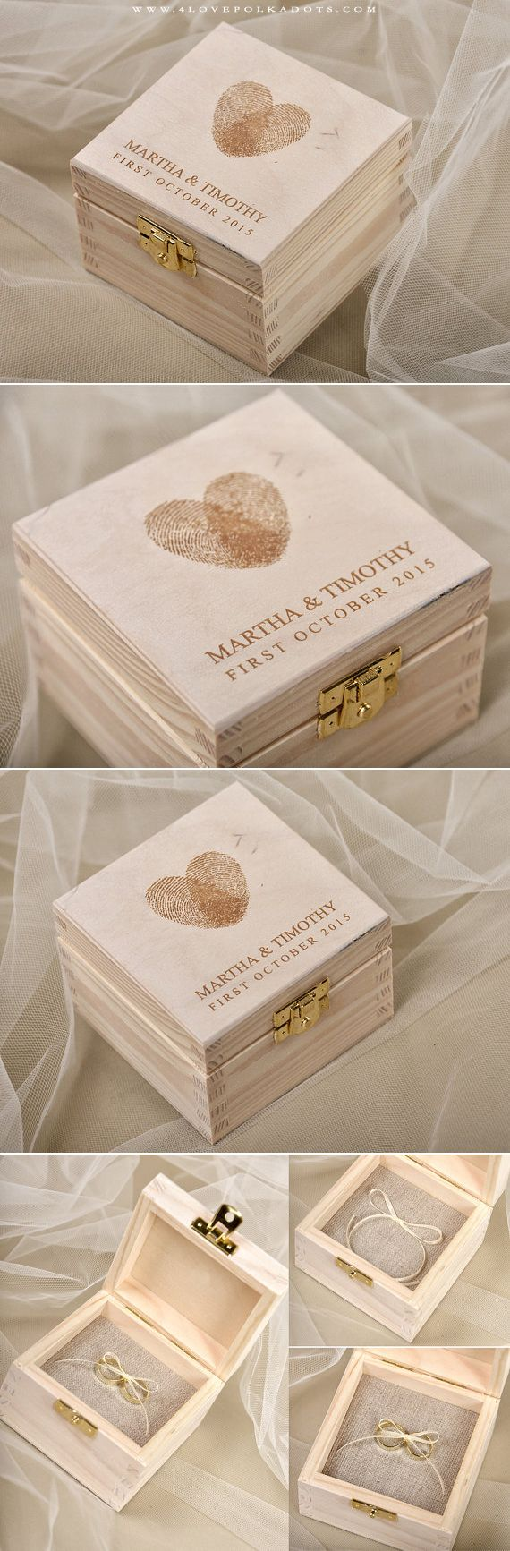 Wedding Wooden Ring Bearer Box with Fingerprints #realwood #weddingideas #summerwedding