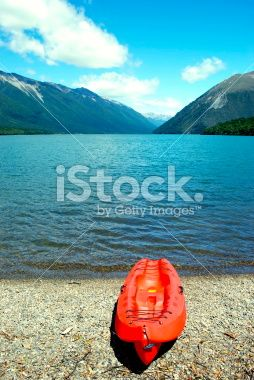 Kayak, Lake Rotoiti, Nelson Lakes National Park, NZ Royalty Free Stock Photo