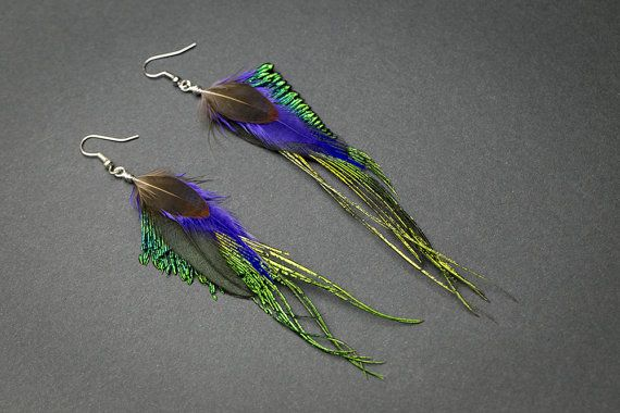 Peacock feather earrings,emerald green peacock earrings, glamour jewelry, iridescent feather, ethnic, boho, glamour earring,  real peacock