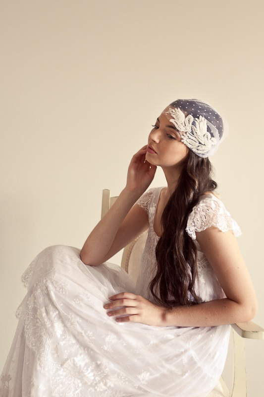 Polkadots on Tulips, Vintage bridal cap - Amanda May