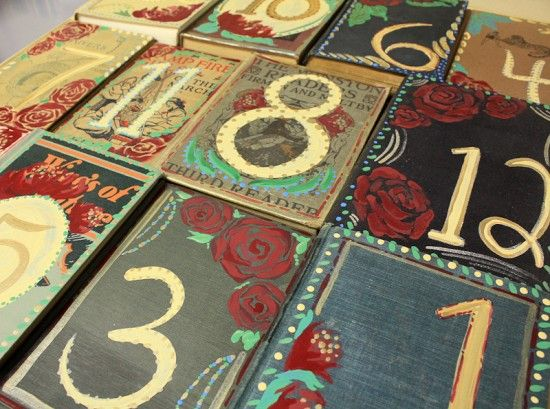 Vintage books as table numbers: Book Wedding Invitations, Books Covers, Vintage Books, Idea, Hands Paintings, Books Tables Numbers, Book Table Numbers, Paintings Books, Old Books