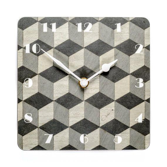 Wall Clock Grey Art Deco Wall Clock Grey Wall by EInderDesigns