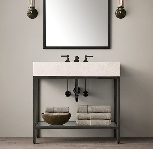 Hudson Metal Single Washstand but with white marble top