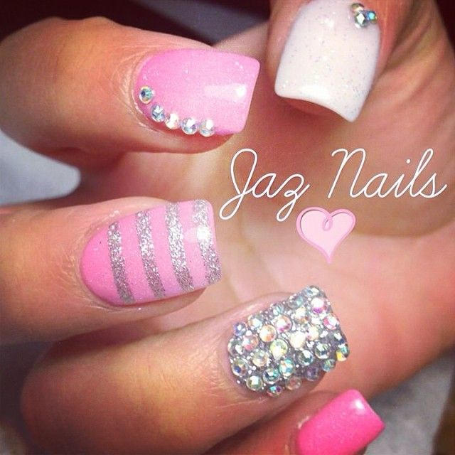 pink, white, silver, stripes, rhinestones #nailart #nails #manicure