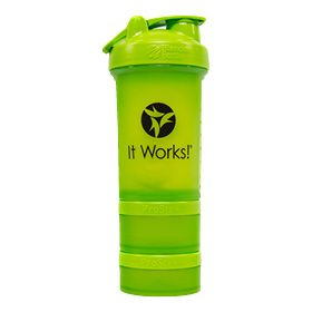650 ml (22 oz.) bottle with leak-proof lid Two detachable jars 100 ml (3 oz.) and 150 ml (5 oz.)  Removable organiser Blender Ball wire whisk perfect for mixing your Greens Blend Berry or It Works! Shake with water Fill it up. Shake it up. Go!