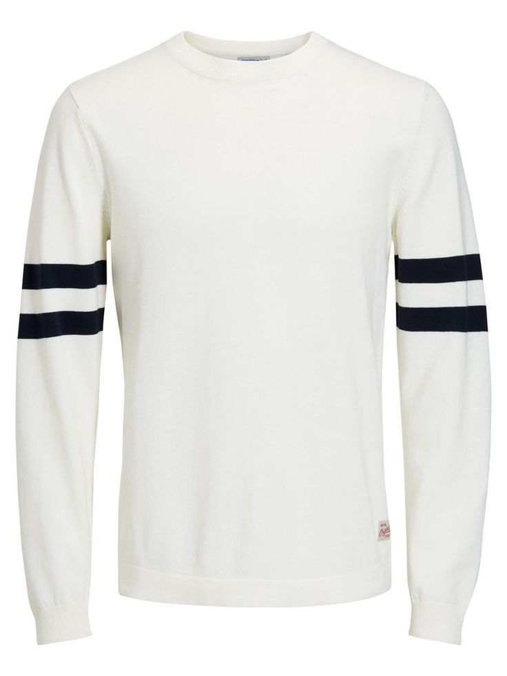Regular fit white knit with black striped details in the sleeves, 100% cotton part of our sustainable cotton initiative | JACK & JONES