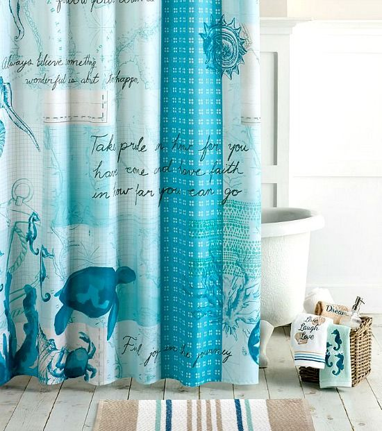 Kohl's Blue Under the Sea Shower Curtain with Inspirational Quotes. Featured on Beach Bliss Living:  http://beachblissliving.com/beach-shower-curtain/