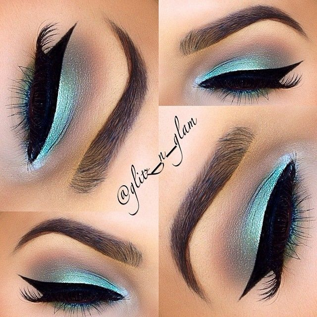 #mint / teal colorful eye #makeup, blended into aubergine + toned down with winged eyeliner @glitz_n_glam