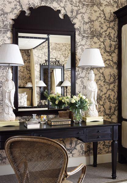 toile and orintental bedroom vanity