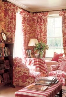 Red toile and buffalo check sitting room - Spencer-Churchill