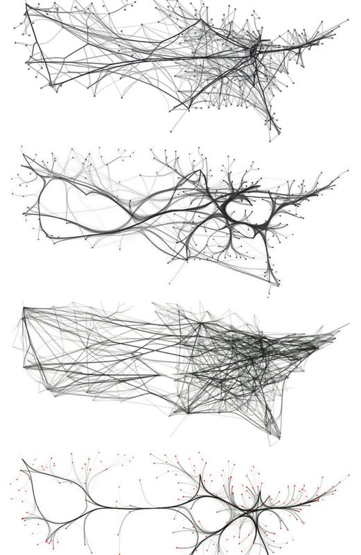 Edge bundling alternatives for US airline routes, http://www.cs.rug.nl/svcg/Shapes/KDEEB                                                                                                                                                      もっと見る