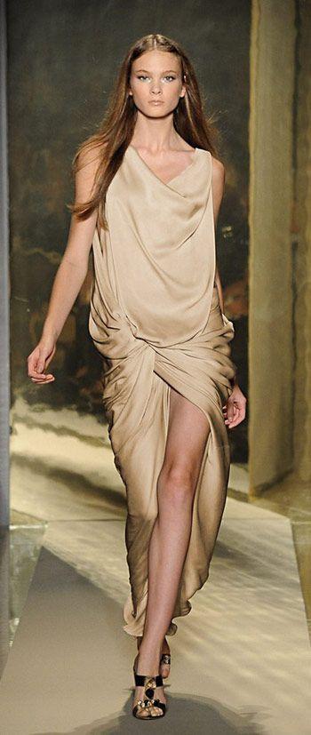 #Donna Karan KNOWS how to rock the female form - Donna Karan Gold Silk Dress #dkny