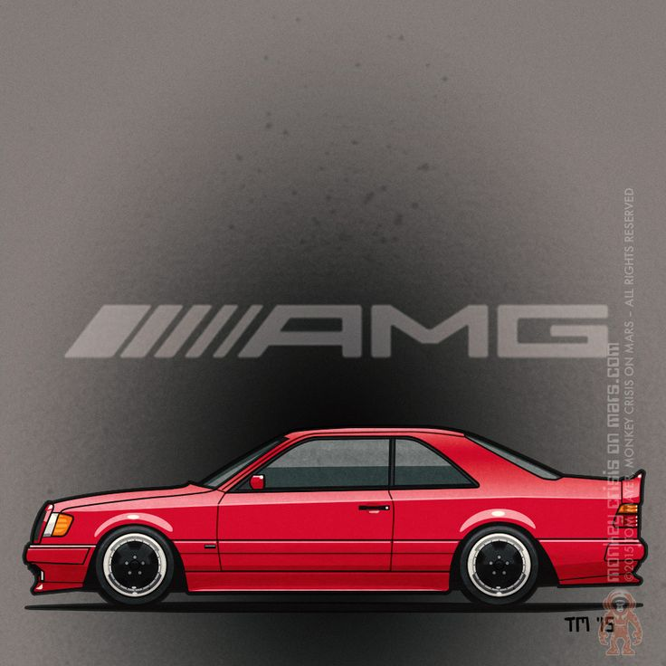 Mercedes Benz 300CE AMG –WidebodyIllustration Artwork of a #Mercedes Benz 300CE W124 AMG coupe in red with black #AMG wheels and body kit ©2015 Tom Mayer, Monkey Crisis On Mars – All Rights Reserved
