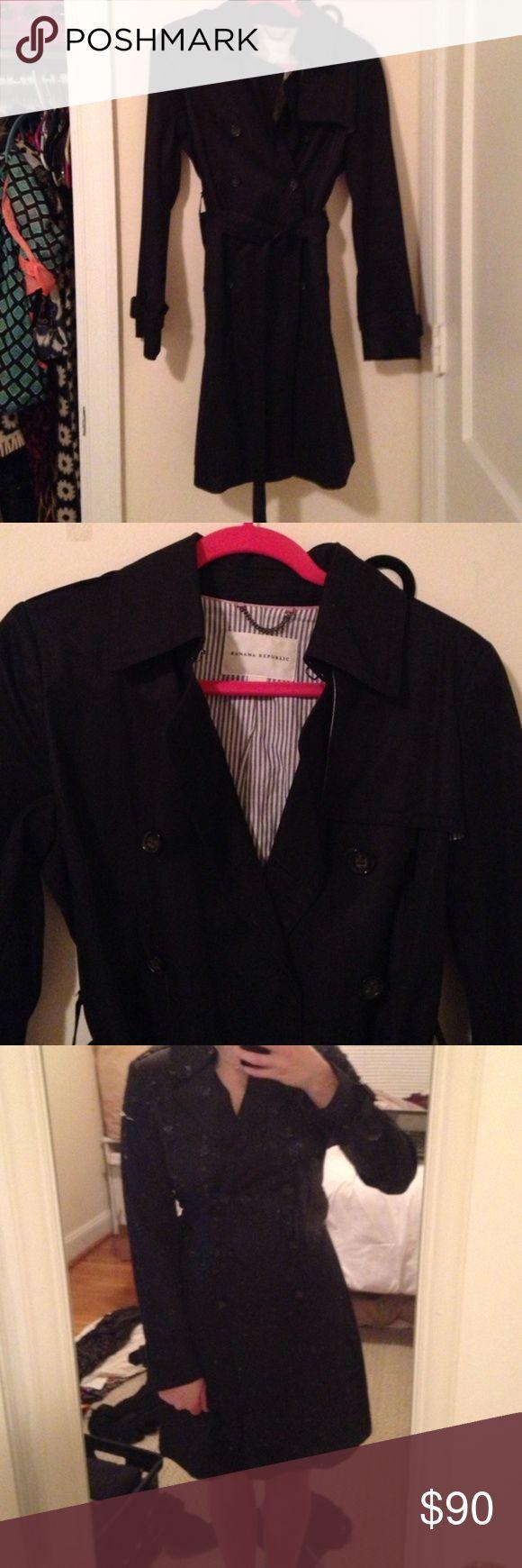 Banana Republic black trench coat Beautiful black trench coat from Banana Republic Banana Republic Jackets & Coats Trench Coats