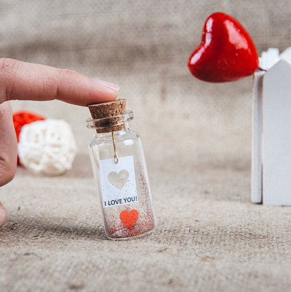 Gift for lovers I love you gift Message in a bottle Tiny gift for girlfriend boyfriend Tiny love message Romantic gift I heart you gift
