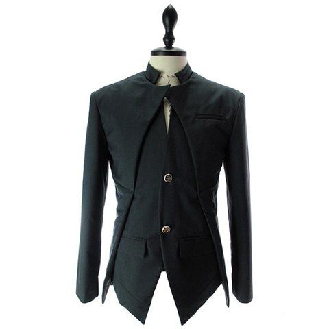 Korean Fashionable Style Asymmetric Design Solid Color Two Button Blazer For Men
