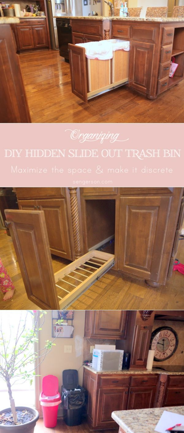 DIY Hidden Slide Out Trash and Recycle Bin. Keep trash and recycle containers out of sight. A pullout provides easy access to garbage and recycling containers. The clever feature keeps these kitchen necessities close at hand but out of sight. Never have an ugly trash can in your kitchen again. Partitioned, pullout garbage cans built into these kitchen cabinets make quick work of dividing glass, plastic, paper, and cans from www.sengerson.com.
