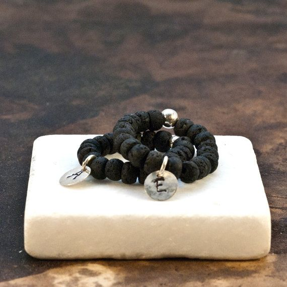 Initial Personalized Ring Black Lava Rock by PiscesAndFishes