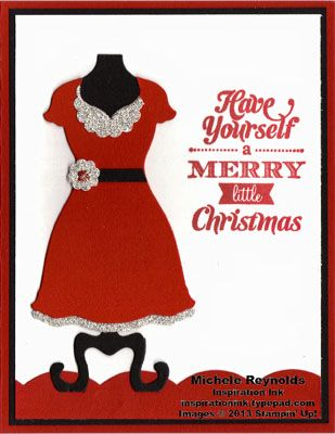 Handmade Christmas card using Stampin' Up! Merry Little Christmas Set and Dress Up Framelits.