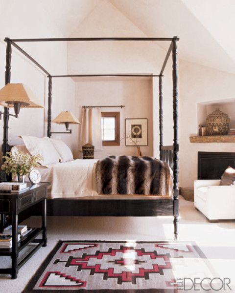 Fur throw at end of the bed, tribal rug, white, with more color accents #Anthropologie #PinToWin